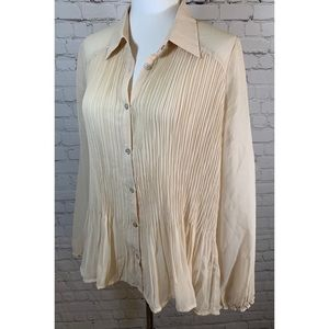 MOTH Tan Pleated Blouse w Lace Up Back